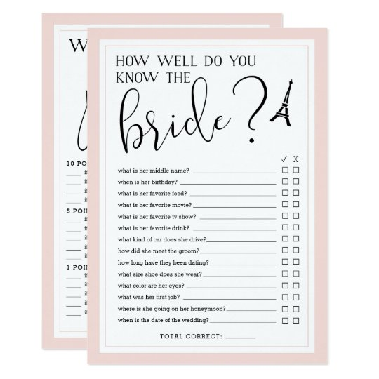 double sided bridal shower game card