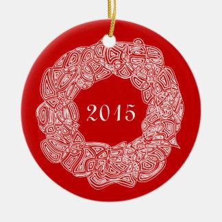 Double Sided Commemorative Wreath (Joy/Year) Ceramic Ornament