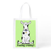 Double-sided crabby cow reusale grocery sack! grocery bag