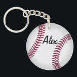 """Double Sided Custom Baseball Key Chain<br><div class=""""desc"""">Add a name to one side and number to the other to create your own unique double-sided baseball key chain.</div>"""
