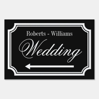 Double sided directional signage wedding yard sign