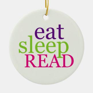 Double-Sided Eat, Sleep, READ - Retro Ceramic Ornament