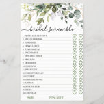 """DOUBLE SIDED Elegant Eucalyptus Bridal Shower Game<br><div class=""""desc"""">Enjoy your bridal shower with these funny games. Personalize with the bride to be's name and date of shower.  If you need help,  contact me please.</div>"""