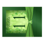 Double-sided Emerald Green Table Number Post Card