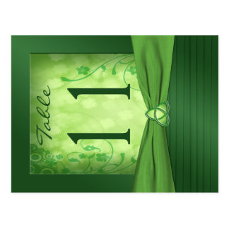 Double-sided Emerald Green Table Number Postcard