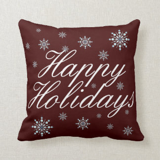 Double Sided Happy Holidays Throw Pillow