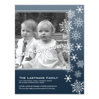 Double-sided Holiday Photo Cards Blue Snowflakes