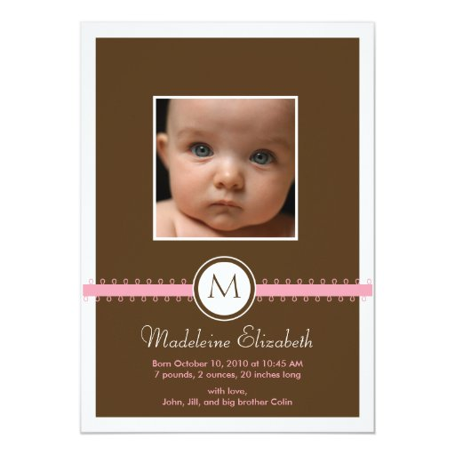 Double Sided Monogram Ribbon Birth Announcement
