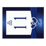 Double-sided Navy Blue and White Table Number Postcard