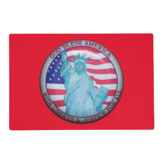 Double sided Patriotic laminated place mat