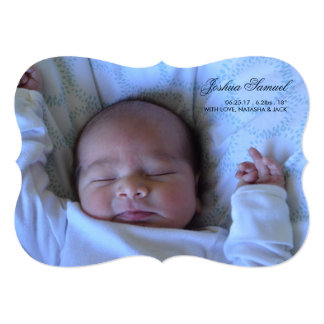 Double Sided Photo Birth Announcement for Boy