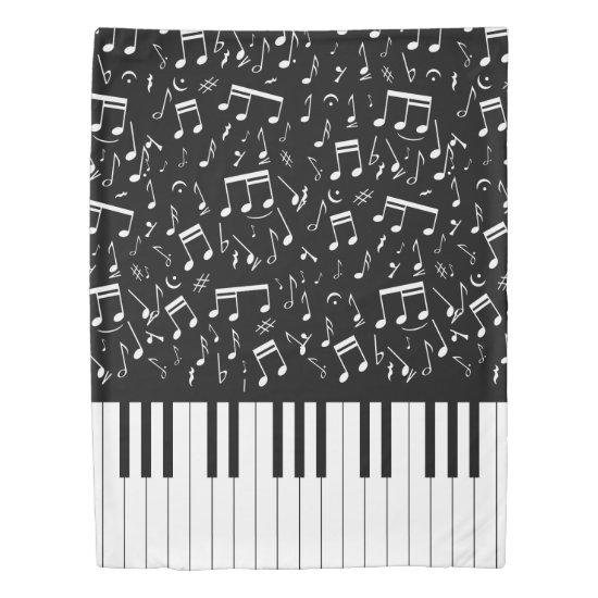 Double sided piano keys and music notes duvet cover