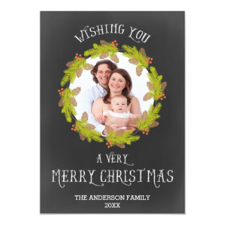Double Sided Pine Wreath Chalk Holiday Photo Card