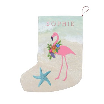 Beach Themed Double Sided Pink Flamingo Girls Small Christmas Stocking