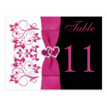 Double-sided Pink, White, Black Table Number Card