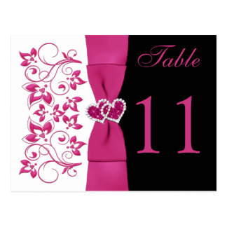 Double-sided Pink, White, Black Table Number Card Post Card