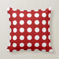 Double Sided Red Green Polka Dot Pattern Pillow