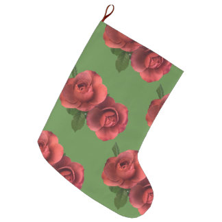 Double Sided Roses Christmas Stocking