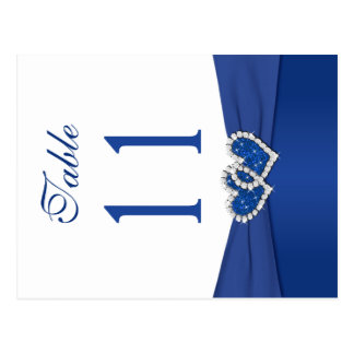 Double-sided Royal Blue and White Table Number Postcard