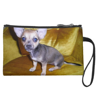 Double Sided- Royal Chihuahua! Suede Wristlet Wallet