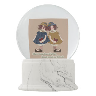 Double sided Sister poem falling hearts snowglobe