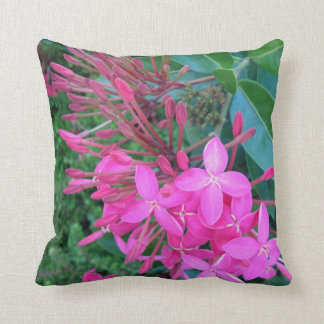 Double Sided Tropical Ixora Flower Throw Pillow