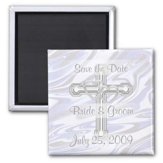 Double Silver Hearts and Cross Magnet