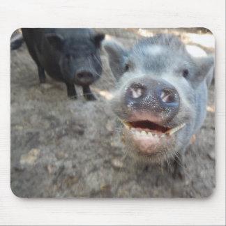 Double smiles Mini pig Mouse Pad