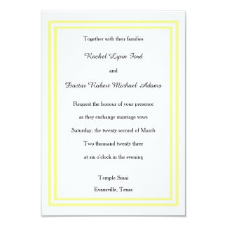 Double Soft Yellow Trim - 3x5 Wedding Invitation