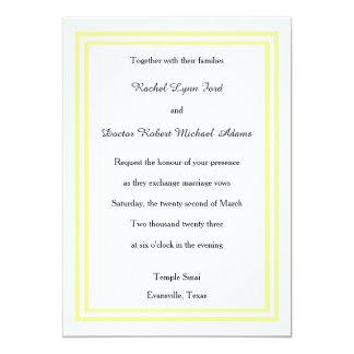 Double Soft Yellow Trim - 5x7 Wedding Invitation