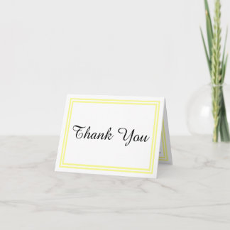 Double Soft Yellow Trim - Thank You Card