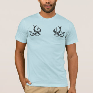 Double Sparrow light blue mens fitted tshirt