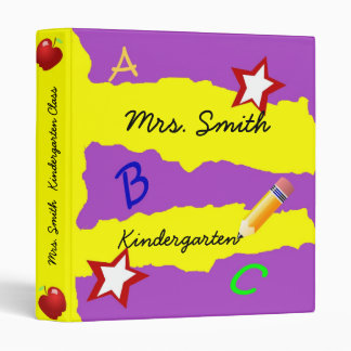 Double Star Purple and Yellow School Binder