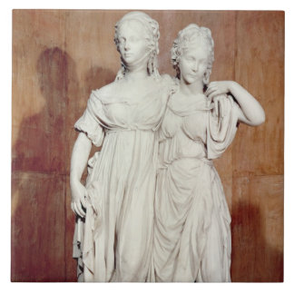 Double statue of the Princesses Louise (1776-1810) Large Square Tile