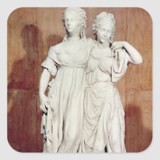 Double statue of the Princesses Louise (1776-1810) Square Sticker