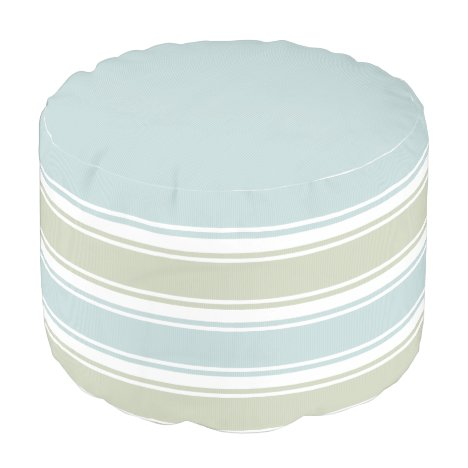 Double Striped Seafoam & Blue Pouf
