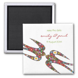 Double Swallows Spring Flowers Save Date Magnet magnet