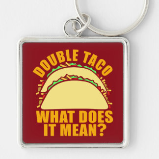 Double Taco Silver-Colored Square Keychain