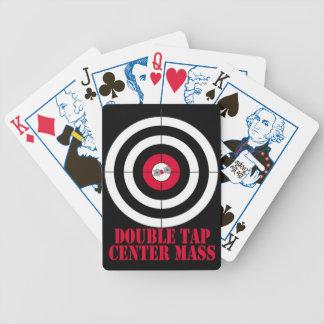 Double tap center mass gun target bicycle playing cards
