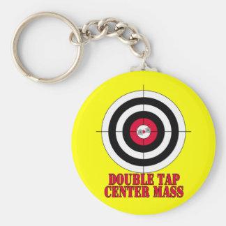 Double Tap Center Mass Gun Target Keychain