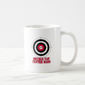 Double tap center mass gun target coffee mugs