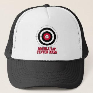 Double tap center mass gun target trucker hat