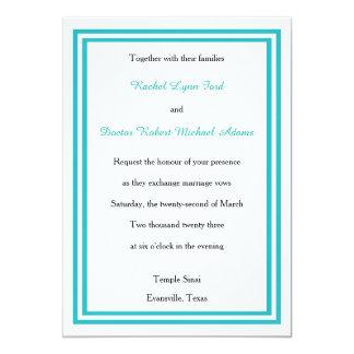 Double Teal Trim -5x7Wedding Invitation