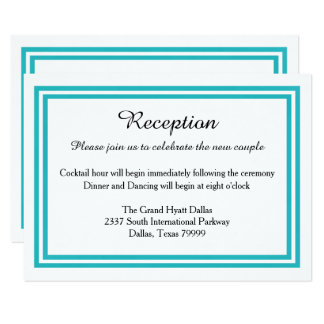 Double Teal Trim-Reception Invition Card