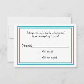 Double Teal Trim - RSVP Card