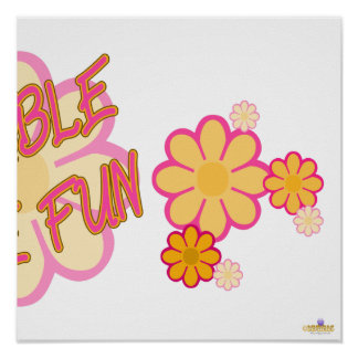 Double The Fun Pink Orange Flowers Part 2 Print