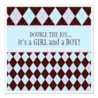 Double the Joy Argyle Boy Girl Twins Baby Shower Card