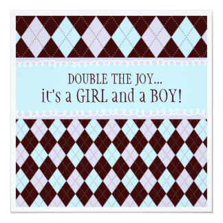 Double the Joy Argyle Boy Girl Twins Baby Shower 5.25x5.25 Square Paper Invitation Card