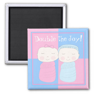 Double the Joy! Twin Baby Girl and Boy Magnet