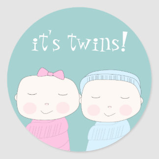 Double the Joy! Twin Baby Shower Classic Round Sticker